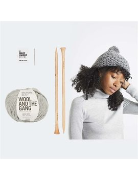 Wool And The Gang Happy Daze Beanie Knitting Kit Tweed Grey by Wool & The Gang