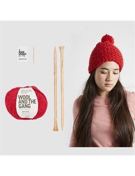 Wool And The Gang Happy Daze Beanie Knitting Kit Lipstick Red by Wool & The Gang