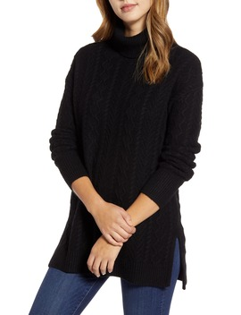 Cable Turtleneck Tunic Sweater by Halogen®