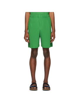 Green Pleated Shorts by Homme PlissÉ Issey Miyake