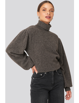 Wool Blend Knitted Polo Neck Sweater Grey by Na Kd Trend