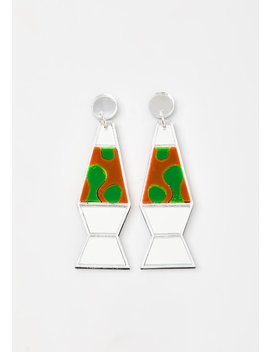 Silver Mirror Lava Lamp Earrings by No Basic Bombshell