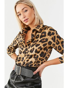 Satin Leopard Print Tunic by Forever 21