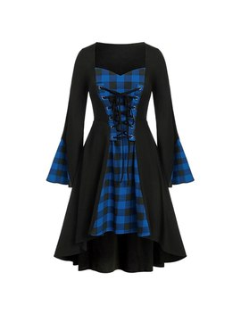 New Fantasy Goddess Queen Plaid Dress Unique Design Women's Plus Size S 5 Xl Halloween Lace Up Patchwork Long Sleeve Mini Dress by Ali Express.Com
