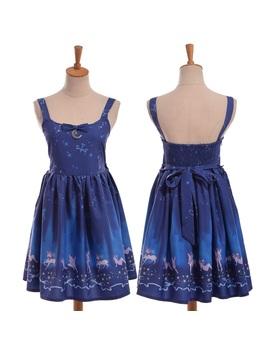Fantasy Starry Print Jsk Suspender Dress Girls Japanese Fairy Dark Blue Dress by Ali Express.Com