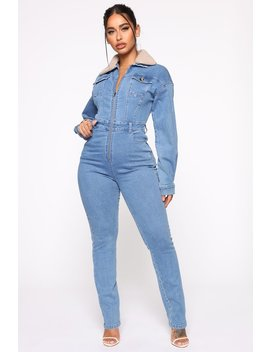 Altitude Sherpa Collar Denim Jumpsuit   Medium Wash by Fashion Nova