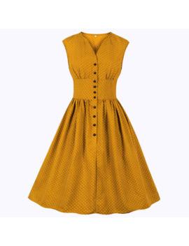 Joineles 11 Colors Women Retro Dress Floral Solid 60s Pin Up Rockabilly Dress Plus Size 4 Xl Dress Button Party Vestidos De Festa by Ali Express.Com
