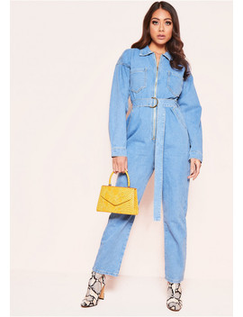Kelly Denim Zip Up Jumpsuit by Missy Empire