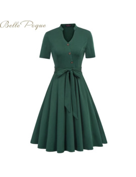 Belle Poque Vintage Party Dress Retro Pleated Dresses Women Solid Short Sleeve Pocket Casual Dresses Vestidos 2019 Summer by Ali Express.Com