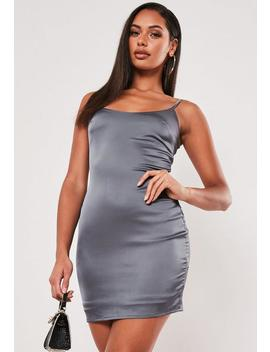 Petite Grey Satin Mini Slip Dress by Missguided