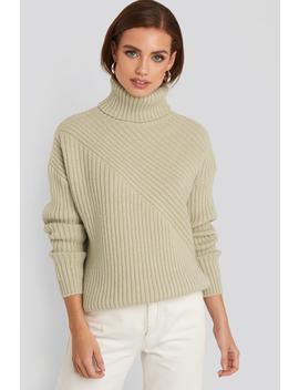 Roll Neck Asymmetric Rib Sweater Beige by Na Kd