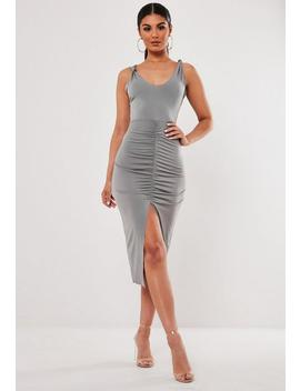 Grey Knot Strap Ruched Front Midi Dress by Missguided