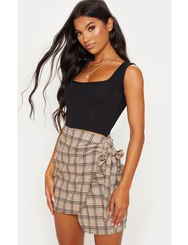 Stone Check Wrap Tie Skirt by Prettylittlething