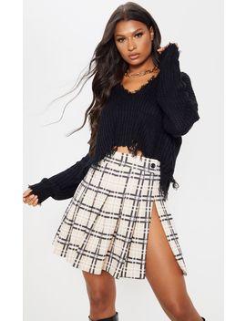 Camel Check Tennis Side Split Skirt by Prettylittlething