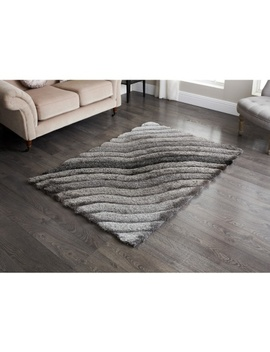 Sculptured Metallic 3 D Rug 110 X 160cm by B&M