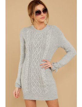 Gimme Love Heather Grey Cable Knit Sweater Dress by Jack By Bb Dakota