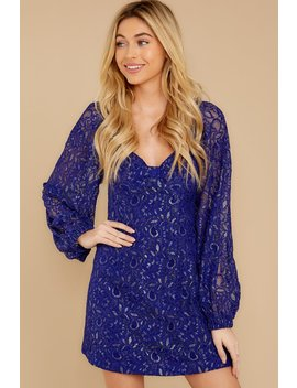 Make Your Entrance Blue Lace Dress by English Factory
