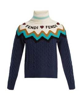 Roll Neck Wool Blend Sweater by Fendi