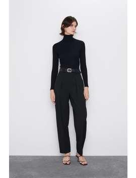 Rippenstrick Pullover Mit Hohem Kragen Basics Strickwaren Damen by Zara