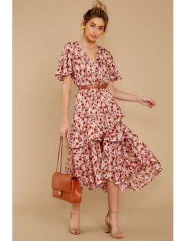 It's Perfect Timing Pink Floral Print Midi Dress by Lovestitch