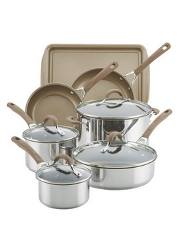 Circulon Innovatum 10pc Hard Anodized Nonstick Cookware Set + Bonus Cookie Pan Champagne by Circulon
