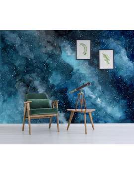 Watercolor Cosmic Wallpaper With Stars And Nebulas, Self Adhesive, Peel And Stick Floral Wall Mural by Etsy