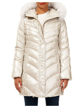 Gorski Après Ski Quilted Puffer Jacket W/ Detachable Fox Fur Trim by Gorski