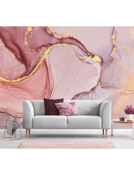 Pink And Lilac Abstract Wallpaper, Self Adhesive, Peel And Stick Wall Mural by Etsy