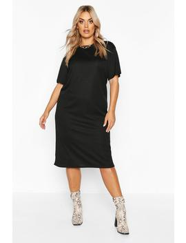Plus Rib Knit Midi T Shirt Dress by Boohoo