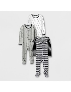 Baby 3pk Long Sleeve Pajama   Cloud Island™ Black/White/Gray by Cloud Island