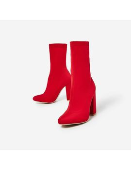 Hayden Block Heel Sock Boot In Red Lycra by Ego