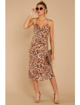 Caught Your Eye Brown Multi Print Midi Dress by Skylar Madison