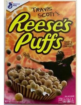 New Travis Scott's Reese's Puffs Cereal 11.5 Oz Box Special Edition Cactus Jack by General Mills