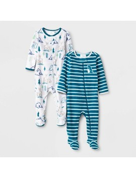 Baby Boys' 2pc Penquin Fleece Sleep N' Play   Cloud Island™ Blue by Cloud Island