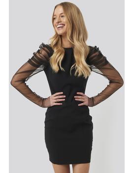 Sleeve Detailed Mini Dress Black by Trendyol