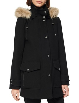 Faux Fur Trim Hooded Duffle Coat by Marc New York