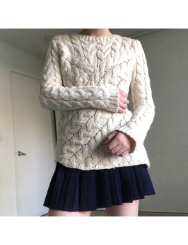 Chunky Heavyweight Cream Asymmetrical Cable Knit by Depop