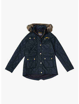 Barbour Girls' Quilted Parka Coat, Black by Barbour
