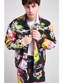 Black Graffiti Print Denim Jacket by Jaded London