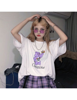 Harajuku Sweet Funny Rainbow Bear Letters Print Shirt Vintage Summer Streetwear by Does Not Apply