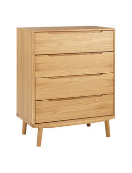 House By John Lewis Bow 4 Drawer Chest, Oak by House By John Lewis