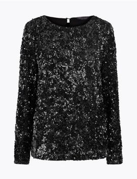 Sequin Long Sleeve Top by Marks & Spencer