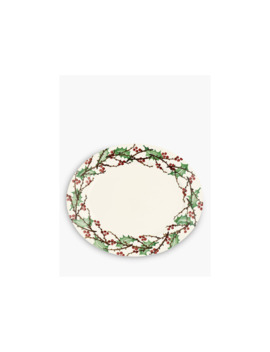 Emma Bridgewater Winterberry Oval Serving Plate, 36cm, White/Multi by Emma Bridgewater