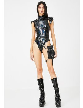 Black Holographic High Neck Bodysuit by Jaded London X Dolls Kill