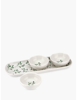 Sophie Conran For Portmeirion Mistletoe Mini Serving Bowls, Set Of 3, White/Multi by Sophie Conran For Portmeirion