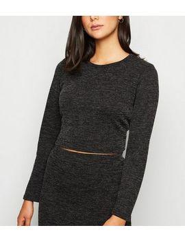 Grey Fine Knit Crop Top by New Look