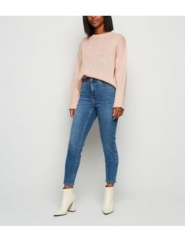 Petite Blue Mid Rise Super Skinny Jeans by New Look