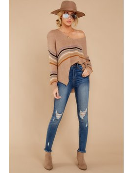 Going Steady Light Mocha Stripe Sweater by Bd Collection