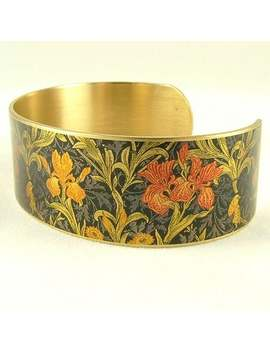 Iris William Morris Flower Cuff Bracelet   Flower Jewellery   Textile Fabric Pattern   Gifts For Women by Etsy