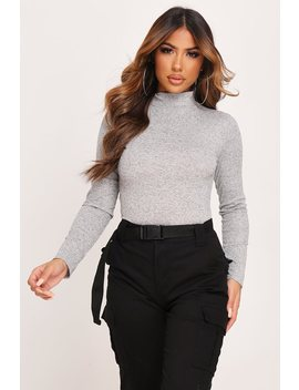 Grey Marl Ribbed Roll Neck Bodysuit by I Saw It First